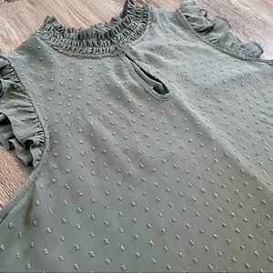 💚  High Neck Sleeveless Dotted Detail Green Blouse - NWOT
